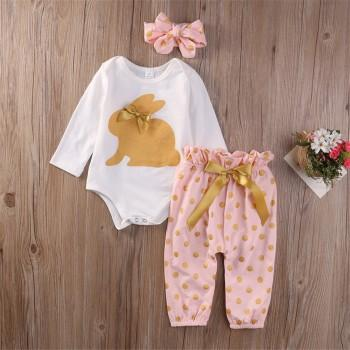 Cute Rabbit Bodysuit Polka Dots Pants and Headband Set for Baby Girl
