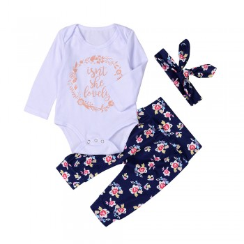 3-piece Letter Bodysuit Floral Pants and Headband Set for Baby Girl