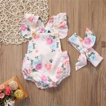 Pretty Floral Sleeveless Bodysuit and Headband Set for Baby