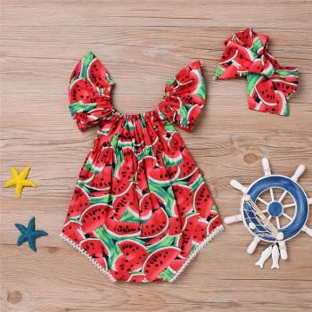 Sweet Watermelon Printed Ruffle-sleeve Bodysuits for Baby