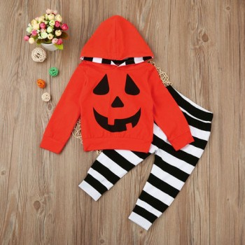 2-piece Halloween Pumpkin Hooded Top and Striped Pants Set for Toddlers
