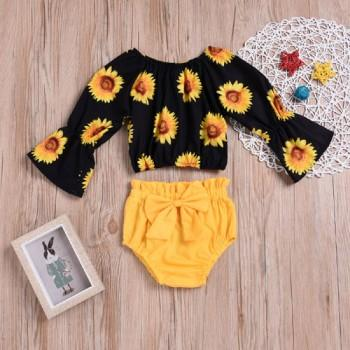 Pretty Sunflower Print Top and Solid Bottom Set for Baby Girl
