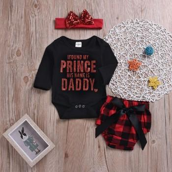 3-piece Pretty Letter Print Long-sleeve Romper, Plaid Bloomers and Headband Set for Baby Girl