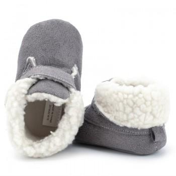 Simple Solid Fleece-lining Suede PU Ankle Boots for Baby and Toddler Boy
