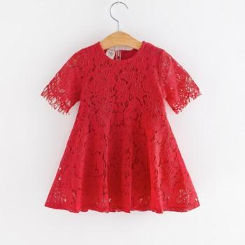 Elegant Red Short-sleeve Lace Dress for Baby and Toddler Girls