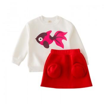 2-piece Goldfish Print Long-sleeve Tee and Red Skirt for Baby Girl/Girl
