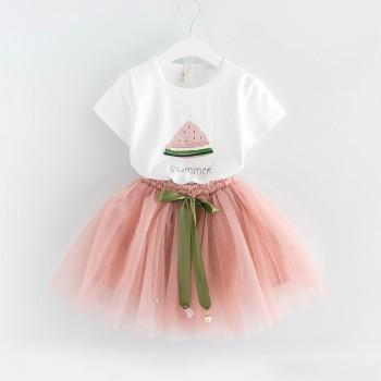 Sweet Short-sleeve T-shirt and Tulle Skirt Set for Baby Girl