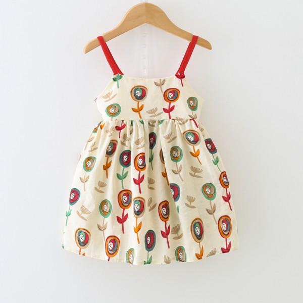 Cheerful Patterned Bow Detail Slip Dress for Girl