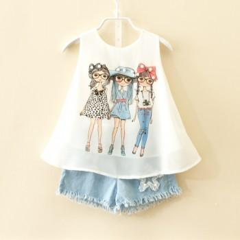 Stylish Cartoon Print Sleeveless T-shirt and Frayed Denim Shorts in White for Toddler Girl and Girl