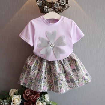 Sweet Flower Applique Short Sleeve T-shirt and Floral Skirt Set for Girl