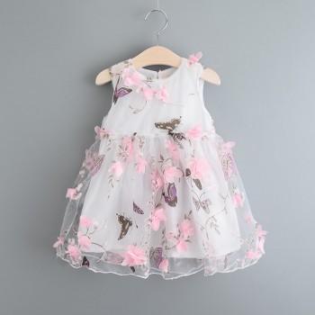 Sweet 3D Flower Decor Butterfly Print Sleeveless Dress for Girl