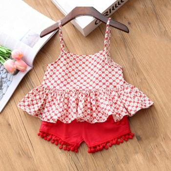 2-piece Sassy Floral Print Ruffled Tank Top and Red Shorts for Girl