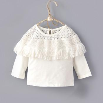 Elegant Hollow Out Tassel Long-sleeve T-shirt in White for Girl