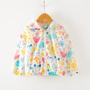 Joyful Fruit Pattern Lightweight Hooded Coat