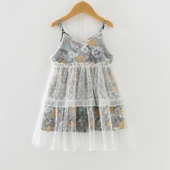 Fairy Mesh Overlay Strap Floral Dress for Girls