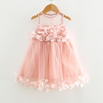 Beautiful Solid Petal Decor Tulle Sleeveless Dress for Toddler Girl and Girl