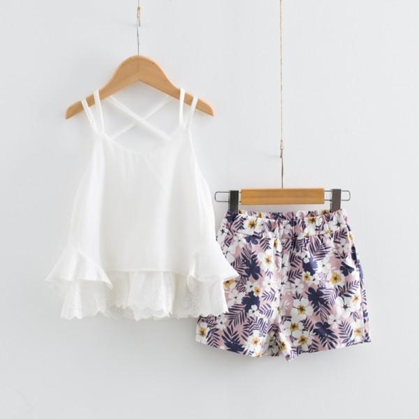 2-piece Pretty Solid Ruffled Tank Top and Floral Shorts Set for Toddler Girl and Girl