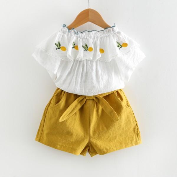 Lovely Embroidered Pineapple Ruffled Top and Shorts Set for Toddler Girl and Girl