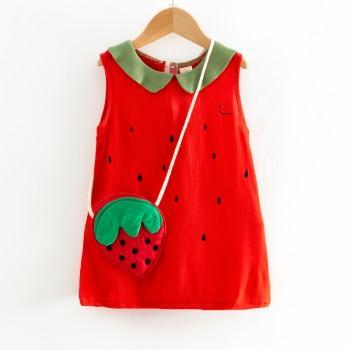 Lovely Strawberry Design Sleeveless Dress With Bag for Toddler Girl and Girl