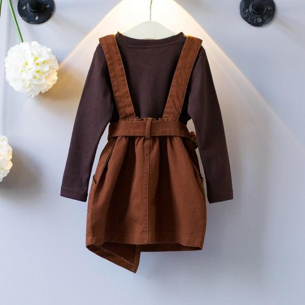 2-piece Long-sleeve Top and Belted Suspender Skirt for Girls