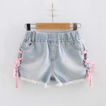 Fashionable Lace-up Frayed Denim Shorts for Toddler Girl and Girl