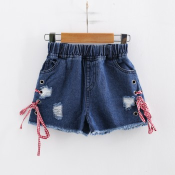Trendy Frayed Lace-up Denim Shorts for Toddler Girl and Girl