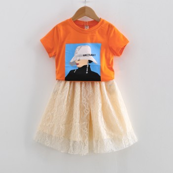 Toddler Girl's Lady Print Short-sleeve Tee and Tulle Skirt Set