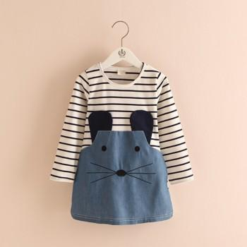 Toddler Girl's Cute Rabbit Mouse Design Striped Long-sleeve Dress