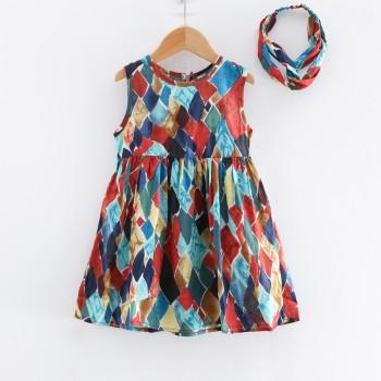 Unique Geo Print Sleeveless Dress with Headband for Toddler Girl and Girl