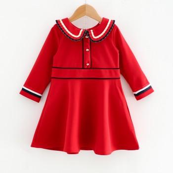 Sassy Doll Collar Long-sleeve Dress in Red for Toddler Girl and Girl