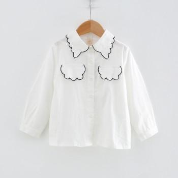 Stylish Solid Embroidered Cloud Long-sleeve Shirt for Toddler Girl and Girl