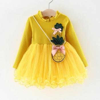 Pretty Pineapple Applique Long-sleeve Tulle Dress with Bag for Baby and Toddler Girl