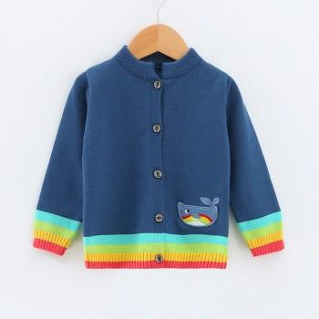Trendy Striped Long-sleeve Whale Appliqued Cardigan