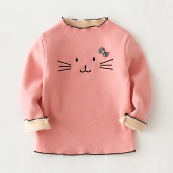 Sweet Embroidered Cat Sweatshirt for Baby and Toddler Girl