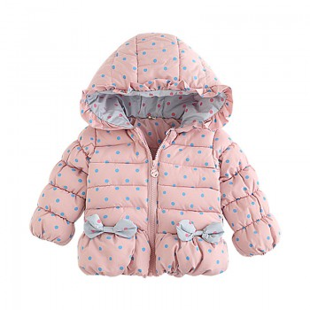 Pretty Dotted Hooded Coat for Baby Girl