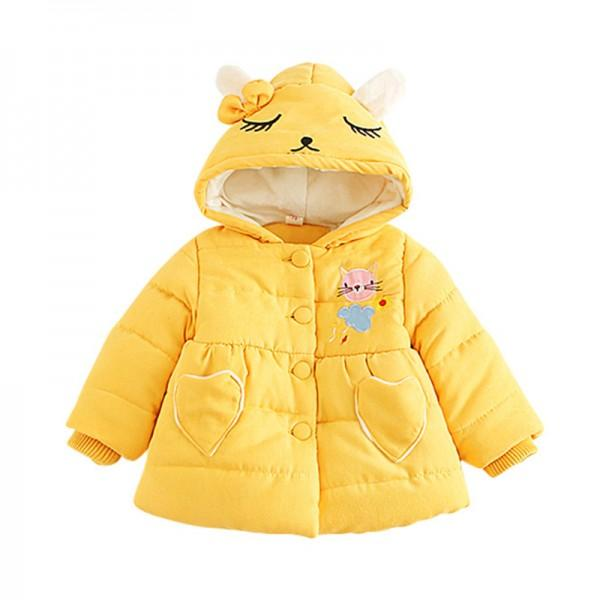 756ffed9fa02 Fashionable Cat Print Hooded Coat for Baby Girl