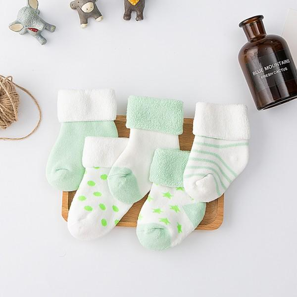 5-pack Cute Warm Color Block Socks for Newborn and Baby