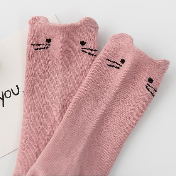 3-pack Cute Embroidered Cat Solid Socks for Newborn and Baby