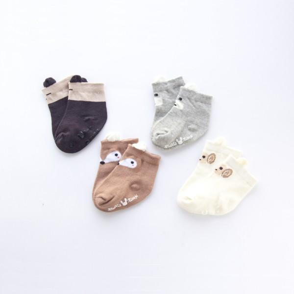 4-pack Cozy Animal Design Socks for Newborn and Baby