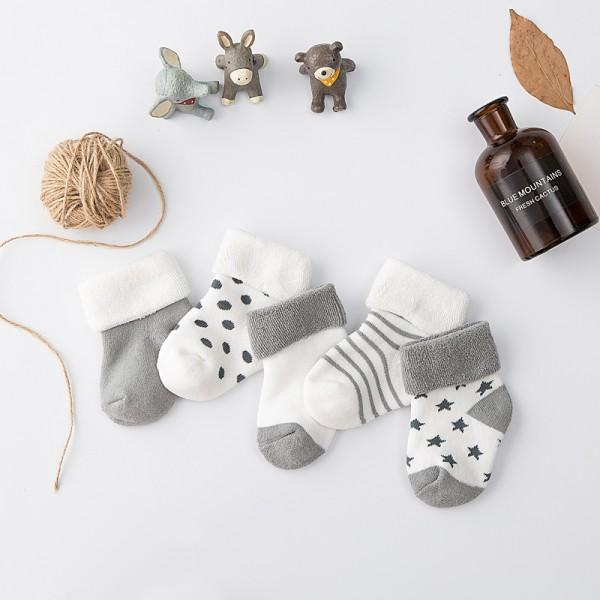 5-pack Cute Grey Winter Socks for Baby