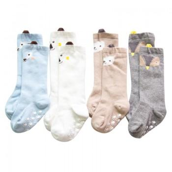 4-pack Cute Bear Print Anti-slip Stockings for Baby and Toddler Boy