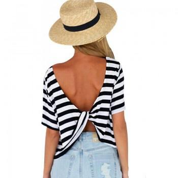Stylish Striped Backless Crossover Short-sleeve T-shirt in Black for Women