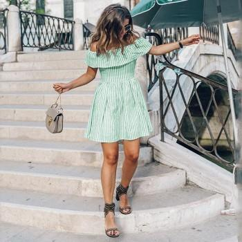 Stylish Striped Off Shoulder Back Cutout Ruffle Dress