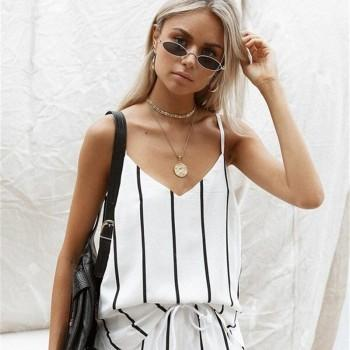 Pretty Striped V Neck Top and Shorts Set
