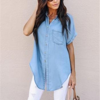 Chic Pocket Denim Short-sleeve Shirt