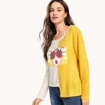 Appliqued Contrast Long-sleeve Pullover