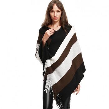 Pretty Stripe Tassel Knit Cloak