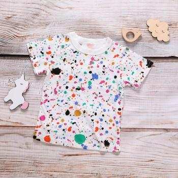 Colorful Printed Short Sleeves Tee for Baby and Kid
