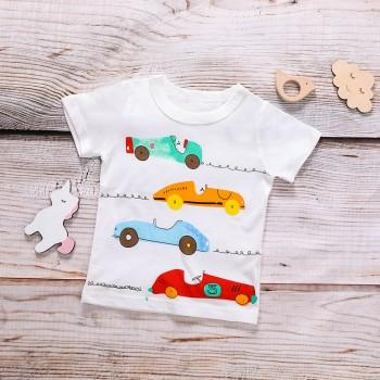 Fun Racing Car Print Short Sleeves Tee for Boys