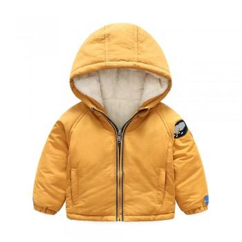Trendy Solid Appliqued Hooded Lined Coat for Toddler Boy and Boy